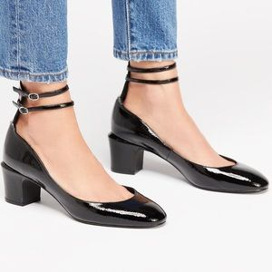 Free People Lana Block Heel in Black Patent NIB